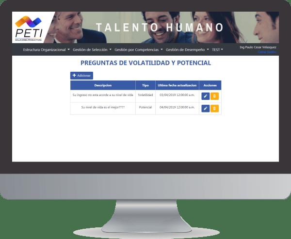 PETI Talento 360 Preguntas Volatilidad Potencial